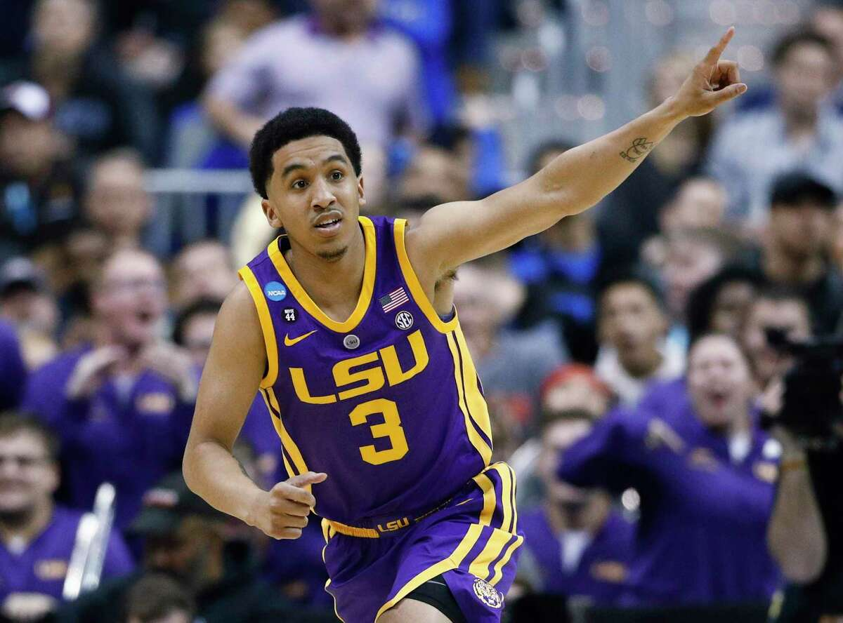 LSU guard Tremont Waters gestures after scoring against Michigan State during the second half of a semifinal in the NCAA men's college basketball tournament East Regional in Washington, Friday, March 29, 2019.