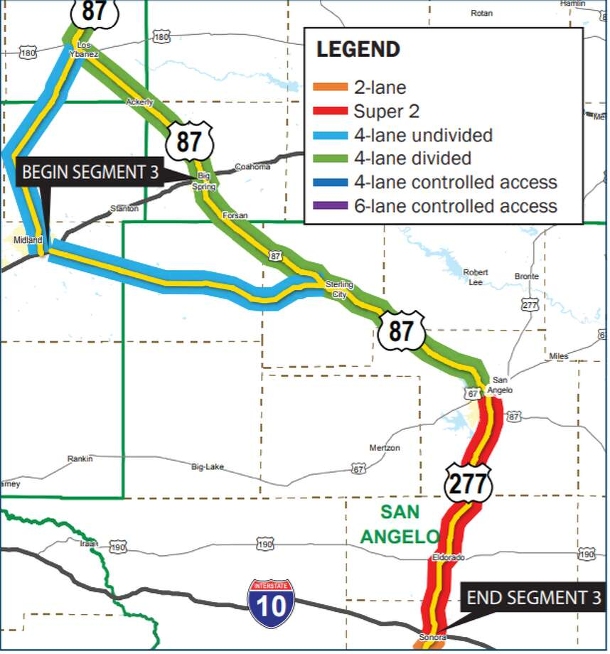 """Currently, Interstate 27 ends in Lubbock, but a """"Ports-to-Plains"""" corridor would extend the road approximately 500 miles to Laredo. It also would serve three border crossings -- Laredo, Eagle Pass and Del Rio -- and connect those cities with San Angelo, Midland, Lubbock and Amarillo, according to the resolution of support. A future Interstate 27 also would intersect with interstate highways 10, 20 and 40. Photo: Texas Department Of Transportation"""