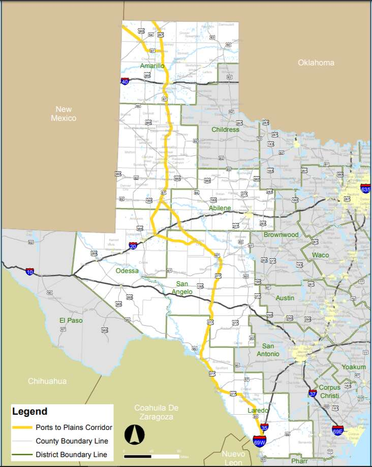"Currently, Interstate 27 ends in Lubbock, but a ""Ports-to-Plains"" corridor would extend the road approximately 500 miles to Laredo. It also would serve three border crossings -- Laredo, Eagle Pass and Del Rio -- and connect those cities with San Angelo, Midland, Lubbock and Amarillo, according to the resolution of support. A future Interstate 27 also would intersect with interstate highways 10, 20 and 40. Photo: Texas Department Of Transportation"