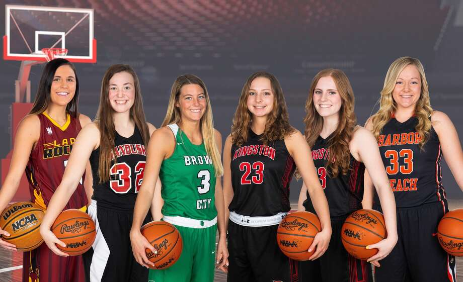 The All-Thumb Girls Basketball First Team is (from left) Reese's Taylor Findlay, Sandusky's Gabby Gough, Brown City's Kendal Muxlow (Player of the Year), Kingston's Lily Lyons, Kingston's Camryn MacGuire and Harbor Beach's Jessica Weber.  Photo: Quad N Productions/For The Tribune