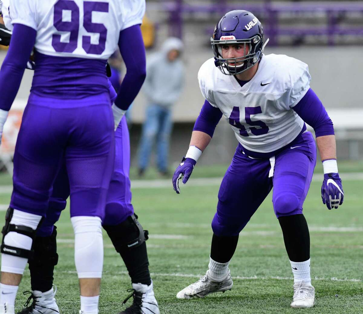 University at Albany linebacker Levi Metheny, right, is seen during spring football practice at Casey Stadium on Tuesday, April 2, 2019 in Albany, N.Y. (Lori Van Buren/Times Union)