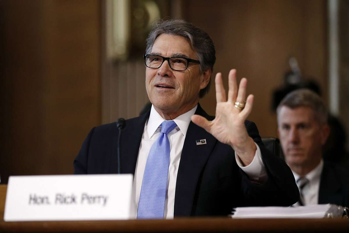 Energy Secretary Rick Perry testifies during a Senate Committee on Energy and Natural Resources hearing, Tuesday, April 2, 2019, on Capitol Hill in Washington. (AP Photo/Patrick Semansky)