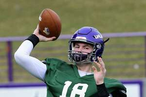 University at Albany quarterback Jeff Undercuffler passes the ball during spring football practice at Casey Stadium on Tuesday, April 2, 2019 in Albany, N.Y. (Lori Van Buren/Times Union)
