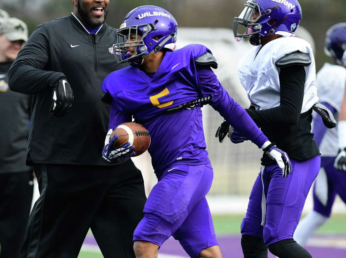University at Albany wide receiver Dev Holmes, #5, is seen during spring football practice at Casey Stadium on Tuesday, April 2, 2019 in Albany, N.Y. (Lori Van Buren/Times Union)