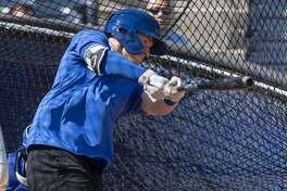 RockHounds' Greg Deichmann takes some batting practice 04/02/19 during media day at Security Bank Ballpark. Tim Fischer/Reporter-Telegram