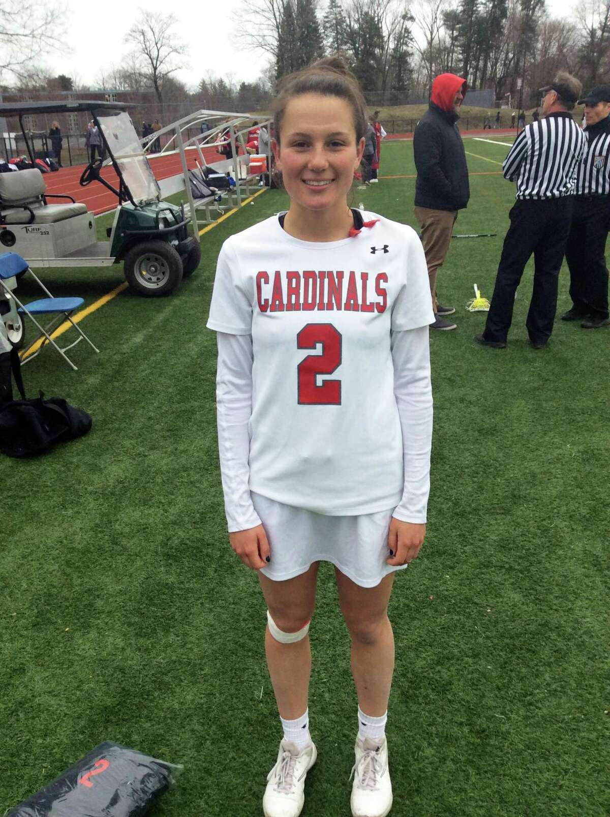 Paige Finneran recorded two goals and two assists for the Greenwich High School girls lacrosse team in its 16-10 loss to visiting Staples on Tuesday, April 2, 2019.