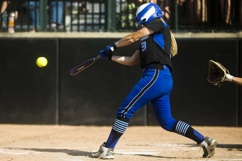 Coleman's Annabelle Bovee takes a rip during the June 16, 2018 Division 4 state final vs. Centreville. Photo: Daily News File Photo