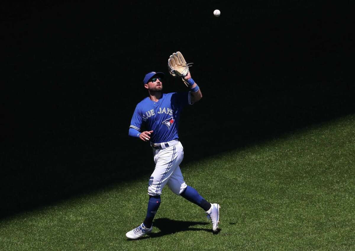 Kevin Pillar #11 of the Toronto Blue Jays catches a fly ball in the fifth inning during MLB game action against the New York Yankees at Rogers Centre on July 8, 2018 in Toronto, Canada.
