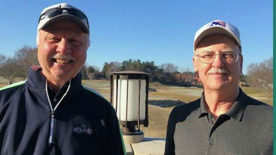 Ron Szymanowski, left, and Ken Moore are co-captains of the scoring control committee for the Dow Great Lakes Bay Invitational in July. (Photo provided by Ron Szymanowski)