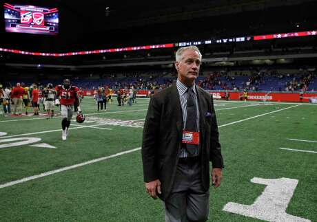 SAN ANTONIO, TX - MARCH 31: Daryl Johnston general manager of the San Antonio Commanders walks off the field after an Alliance of American Football game against the Arizona Hotshots at the Alamodome on March 31, 2019 in San Antonio, Texas. The Arizona Hotshots won 23-6. (Photo by Edward A. Ornelas/Getty Images)