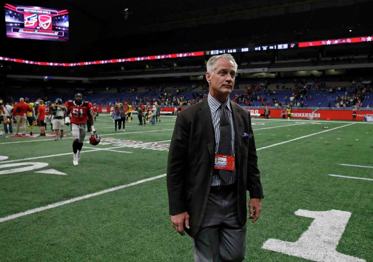 Daryl Johnston, general manager of the San Antonio Commanders, walks off the field after an Alliance of American Football game against the Arizona Hotshots at the Alamodome on March 31, 2019.