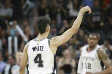 Spurs' Derrick White (04) holds a pose after scoring against the Atlanta Hawks during the second half of their game at the AT&T Center on Tuesday, Apr. 2, 2019. Spurs defeated the Hawks, 117-111. (Kin Man Hui/San Antonio Express-News)