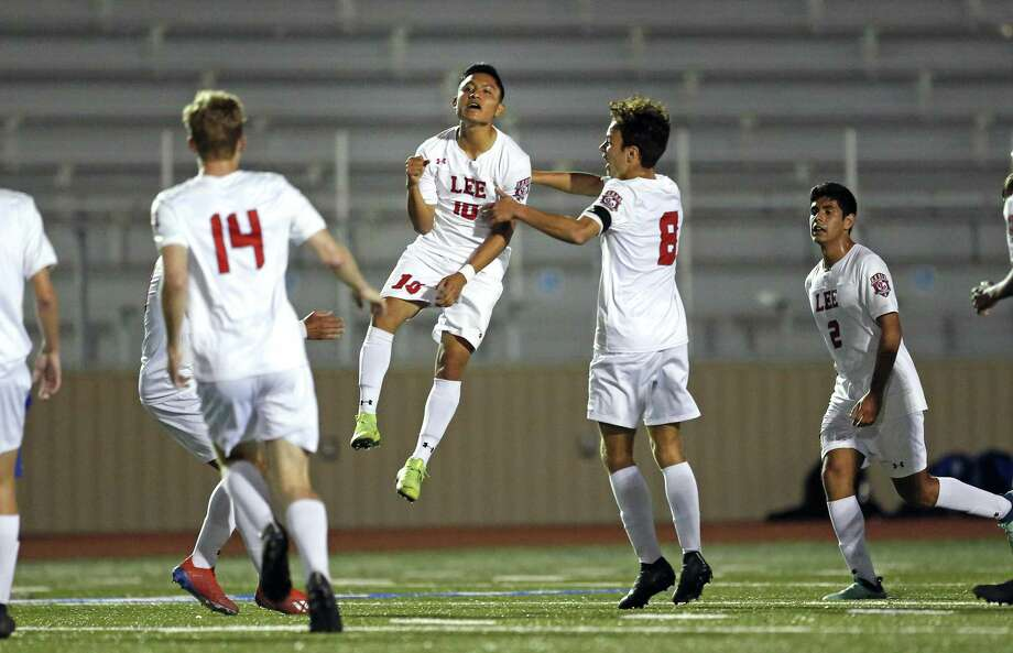 Lee's Wilmar Aguilar celebrates Lee first goal. Lee v Austin Westlake in boys 6A second round boys soccer at Comalander Stadium on Monday April 2 , 2019. Photo: Ronald Cortes/Contributor / 2019 Ronald Cortes