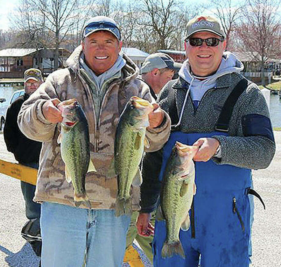 Mark Watson and Greg Cooper of Springfield were first-place winners in Sunday's Rotary Bass Tournament with a total weight of 13.51 pounds. Photo: Photos Provided