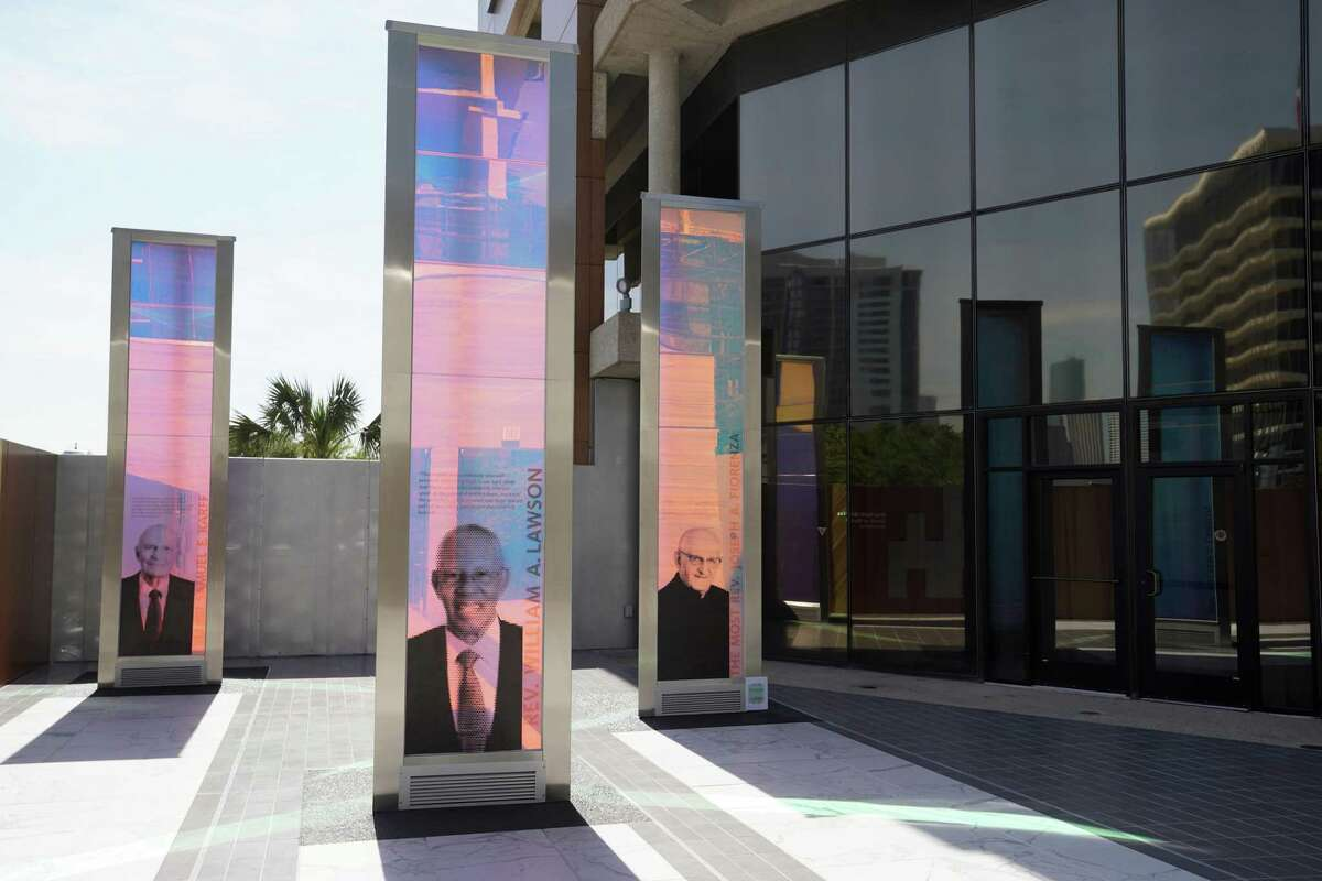 The new Brigitte and Bashar Kalai Plaza of Respect at the Interfaith Ministries for Greater Houston campus featuring three monuments of dichroic glass to honor Rabbi Samuel Karff, Rev. William Lawson, and Archbishop A. Joseph Fiorenza is shown Tuesday, April 2, 2019, in Houston.