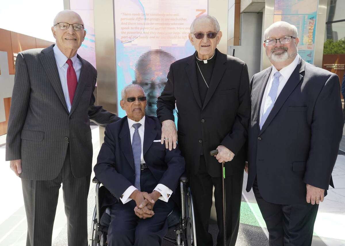 Rabbi Samuel Karff, left, Rev. William Lawson, Archbishop A. Joseph Fiorenza and Martin Cominsky, president and CEO Interfaith Ministries for Greater Houston are shown in the new Brigitte and Bashar Kalai Plaza of Respect at the Interfaith Ministries for Greater Houston campus Tuesday, April 2, 2019, in Houston.
