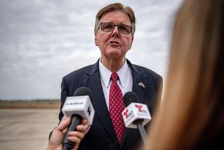 """Dan Patrick, lieutenant governor of Texas, speaks to members of the media at McAllen-Miller International Airport in McAllen, Texas, U.S., on Thursday, Jan. 10, 2019. President Donald Trump's decision to bid """"bye bye"""" to House Speaker Nancy Pelosi and storm out of a White House meeting brought relations between the president and Democrats to a new low just as the impact of the nearly three-week government shutdown was set to intensify. Photographer: Sergio Flores/Bloomberg"""