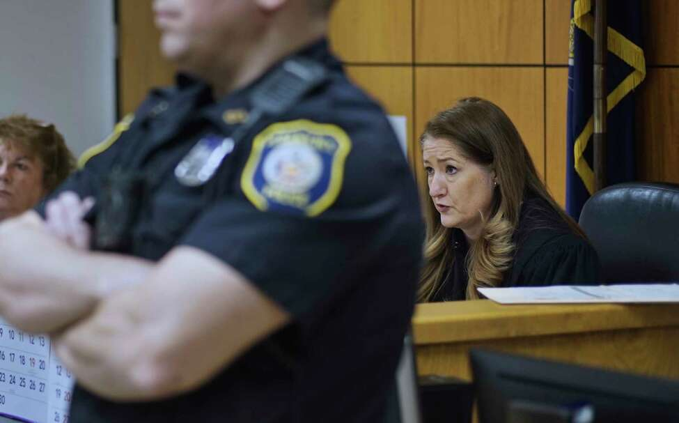 Judge Holly Trexler talks to Armando Sanchez and Mario Gorostiza, along with their attorneys at Albany City Court on Wednesday, April 3, 2019, in Albany, N.Y. (Paul Buckowski/Times Union)