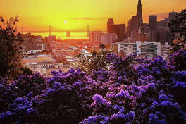 Sunrise at Russian Hill in San Francisco by @stuinsf