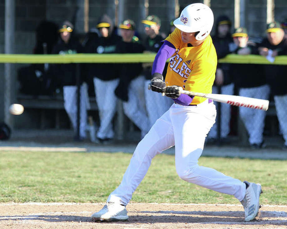 CM's Nick Walker, shown during a game against Southwestern on March 26 in Bethalto, had two hits in the Eagles' victory Tuesday at Greenville. Photo: Greg Shashack / The Telegraph