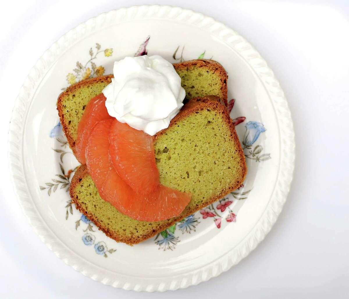 Avocado Pound Cake with grapefruit and whipped cream