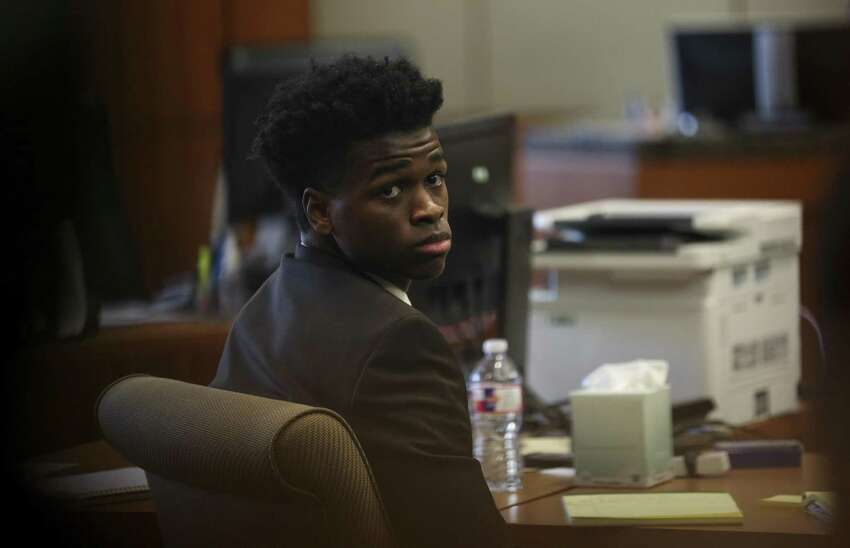 Armstrong, Jr.'s trial began on in the 178th Criminal Court in Houston on April 2, 2019. Here, he can be seen awaiting the delivery of opening arguments.