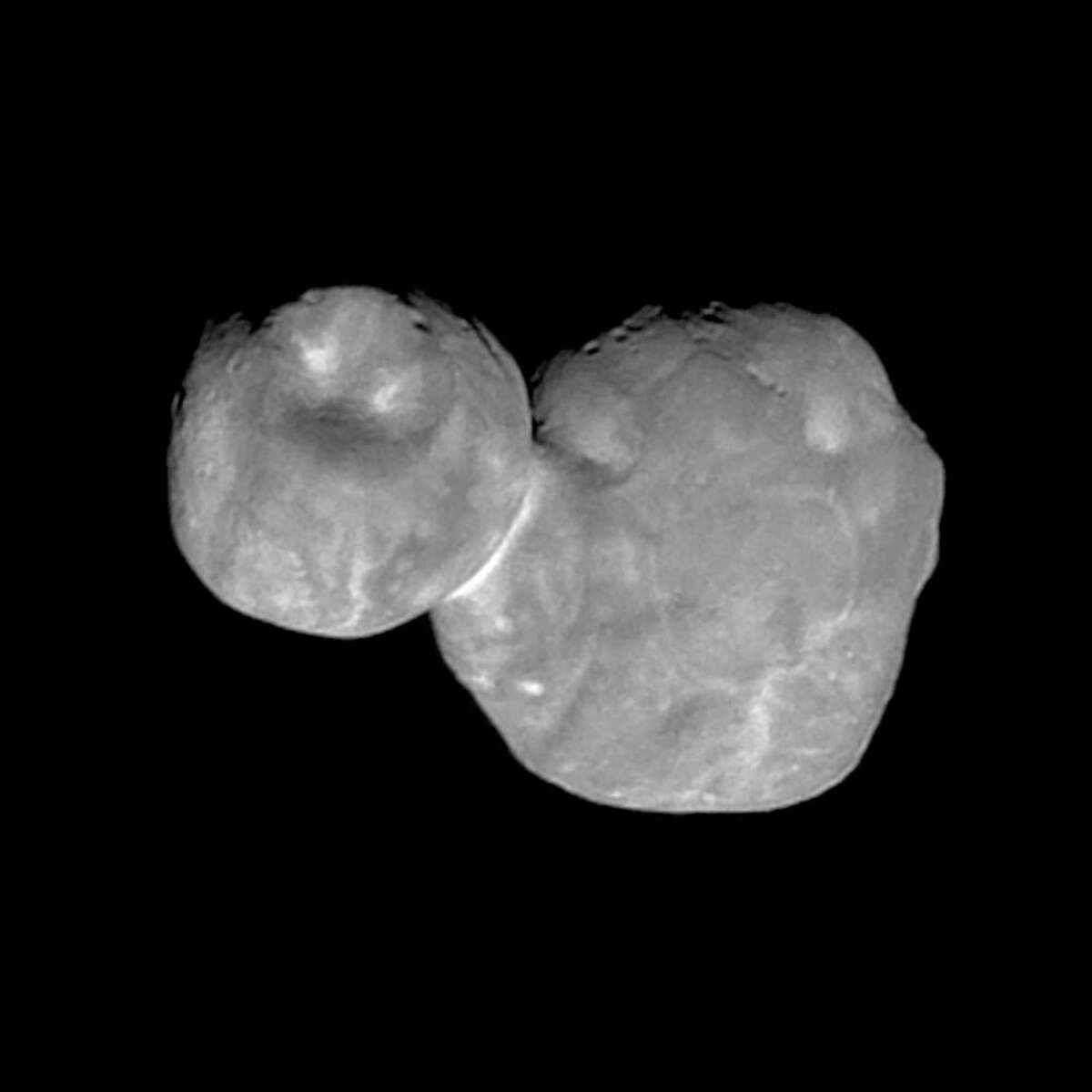 Ultima Thule, about 1 billion miles beyond Pluto, encountered in the Kuiper Belt by the New Horizons spacecraft in January. It was created by two objects that touched and stuck together. (NASA/Johns Hopkins University Applied Physics Laboratory/Southwest Research Institute via AP)