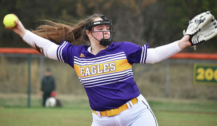 CM pitcher Gracie Braun, shown in action last week at Edwardsville, was the tough-luck loser Tuesday after throwing a complete game in the Eagles' 1-0 loss to Marquette Catholic in Bethalto. Photo: Matt Kamp / Hearst Illinois