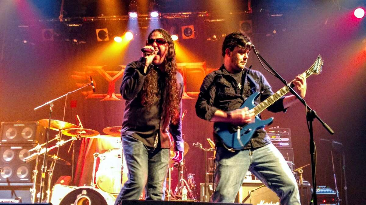 Untaymed's singer and only original member, Christopher Jacobson, left, with guitarist Mike Bushey. (Provided photo.)