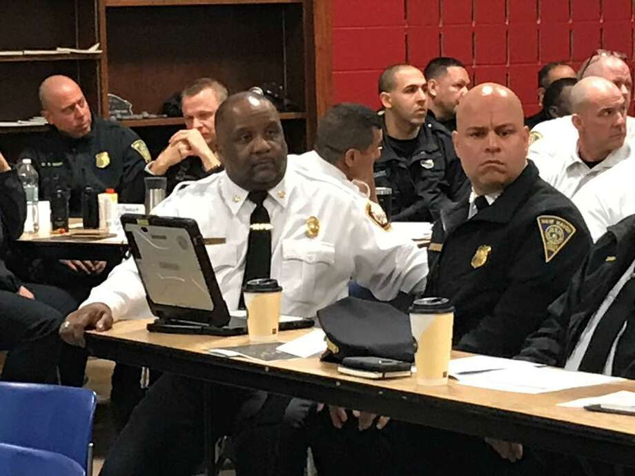 New Haven Fire Chief John Alston and Interim Police Chief Otoniel Reyes Wednesday during a review of a hypothetical active school shooter scenario. Photo: Brian Zahn /Hearst Connecticut Media /