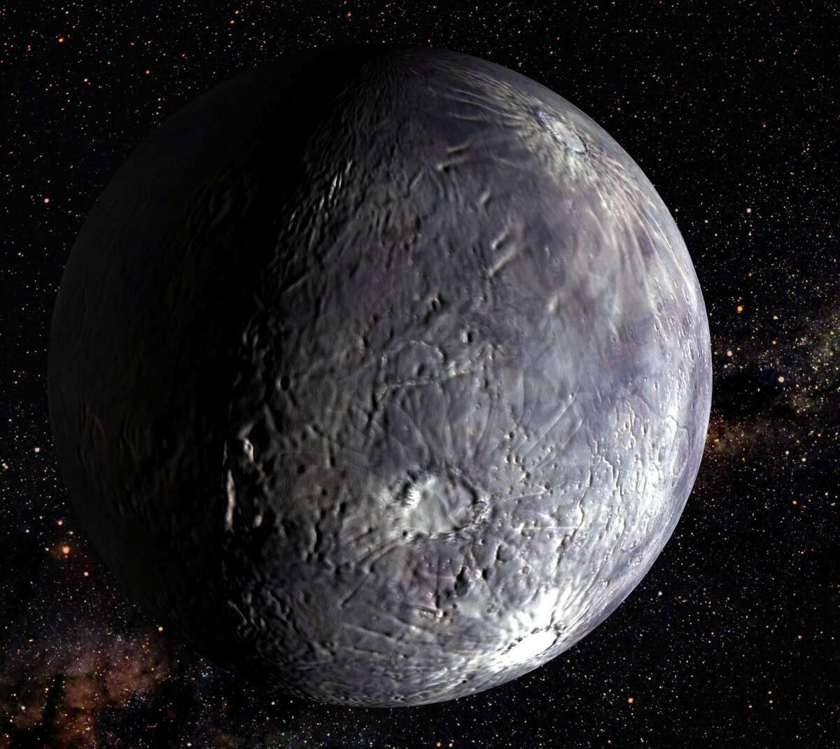 """This undated handout is an artist's rendition of the object """"2002 LM60,"""" dubbed """"Quaoar,"""" by its discoverers, after NASA's Hubble Space Telescope's new Advanced Camera captured images of the frozen celestial body in the Kuiper belt, an icy debris field of comet-like bodies, about four billion miles from Earth. Astronomers have determined that Quaoar is the largest body found in the solar system since the discovery of Pluto 72 years ago, but do not consider it a planet. (AP Photo/NASA)"""