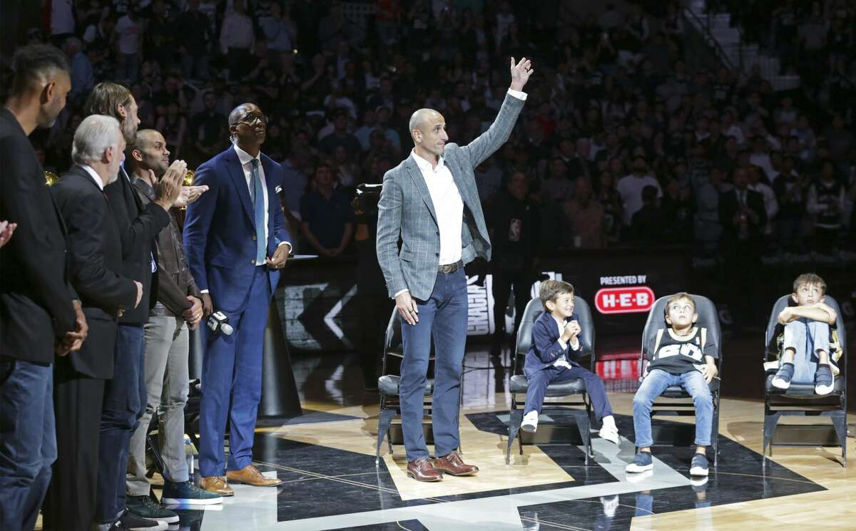 Manu Ginobili is celebrated at his retirement ceremony at the AT&T Center following the Spurs game against the Cleveland Cavaliers on March 28, 2019.