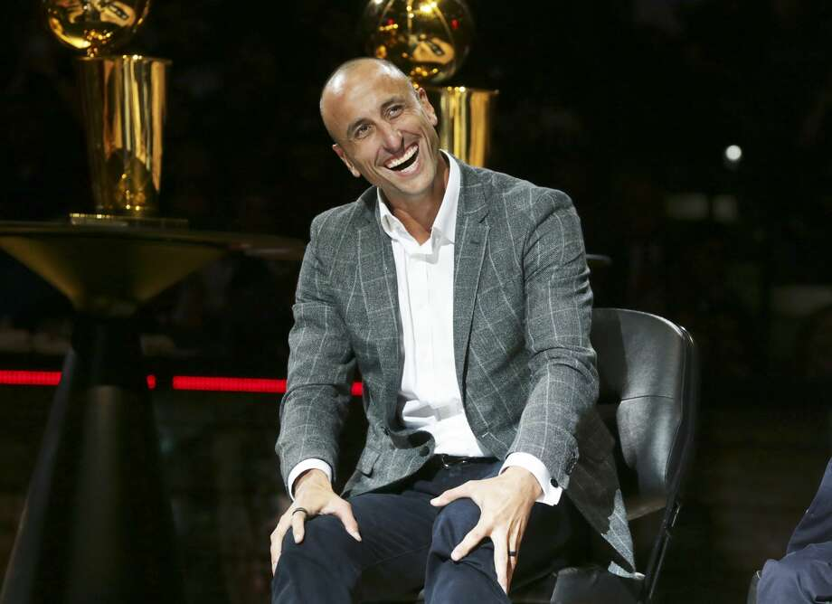 """The former Spurs player's wife Marianela has been documenting the """"quarantine """" life with her husband on her Twitter account, and many of the tweets are hilarious. Photo: Manu Ginobili is celebrated at his retirement ceremony at the AT&T Center following the Spurs game against the Cleveland Cavaliers on March 28, 2019. Photo: Tom Reel/Staff Photographer"""