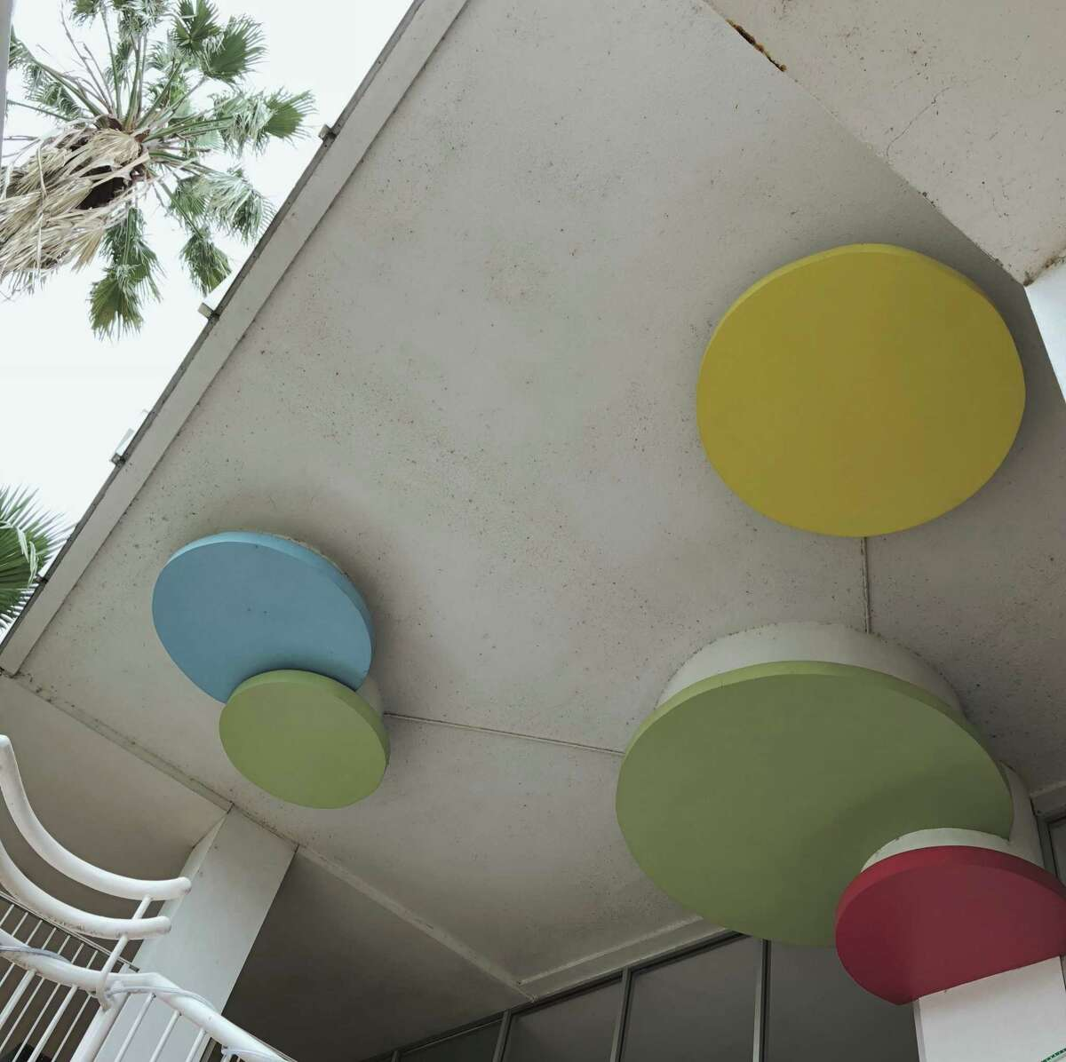 Pops of color are common design elements in mid-century modern architecture. Here's a look at the ceiling of El Tropicano Hotel on the River Walk.