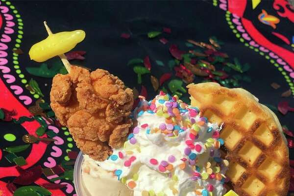 "Rolling Reys unveiled the ""Fiesta Roll"" as treat of the month. For $5.99, customers will get waffle and maple syrup rolled ice cream, topped with a waffle, a tiny chicken on a stick, whipped cream and ""fiesta"" sprinkles."