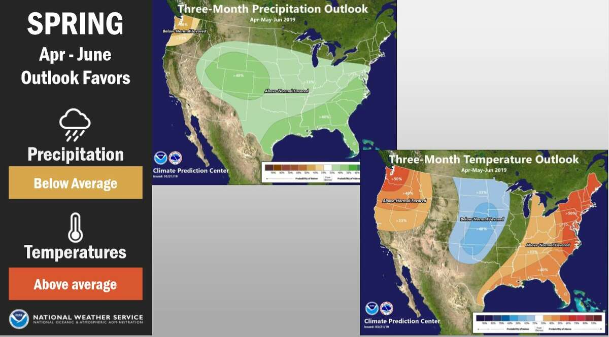 The National Weather Service's spring outlook predicts a high chance of temperatures being warmer and drier than normal.