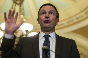 Sen. Chris Murphy speaks during a news conference following a weekly policy luncheon on April 2, 2019 in Washington, DC.