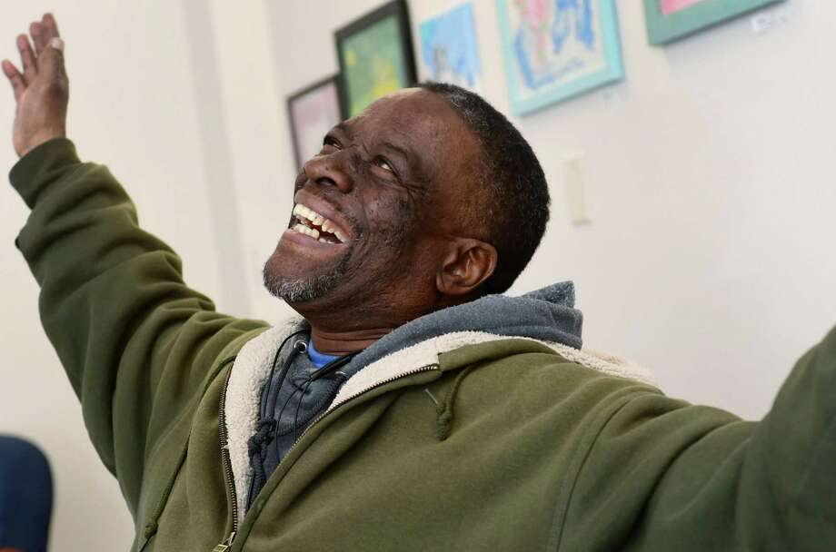 Keystone House client Jerome Barr at Keystone's facility on Main Street Tuesday, April 2, 2019, in Norwalk, Conn. Keystone House, a Norwalk nonprofit that supports people living with mental illness, is hosting its biggest fundraiser on April 6 at the Norwalk Inn where Barr will give the keynote address with Peer Support Specialist Alima Davis. Photo: Erik Trautmann / Hearst Connecticut Media / Norwalk Hour