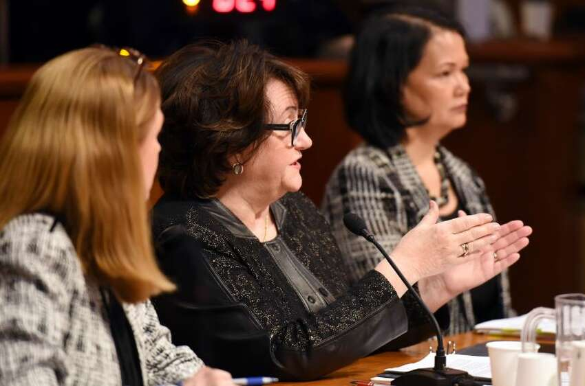 New York State Education Commissioner MaryEllen Elia answers a question during the education budget hearings Wednesday, Feb. 6, 2019 at the Legislative Office Building in Albany, NY