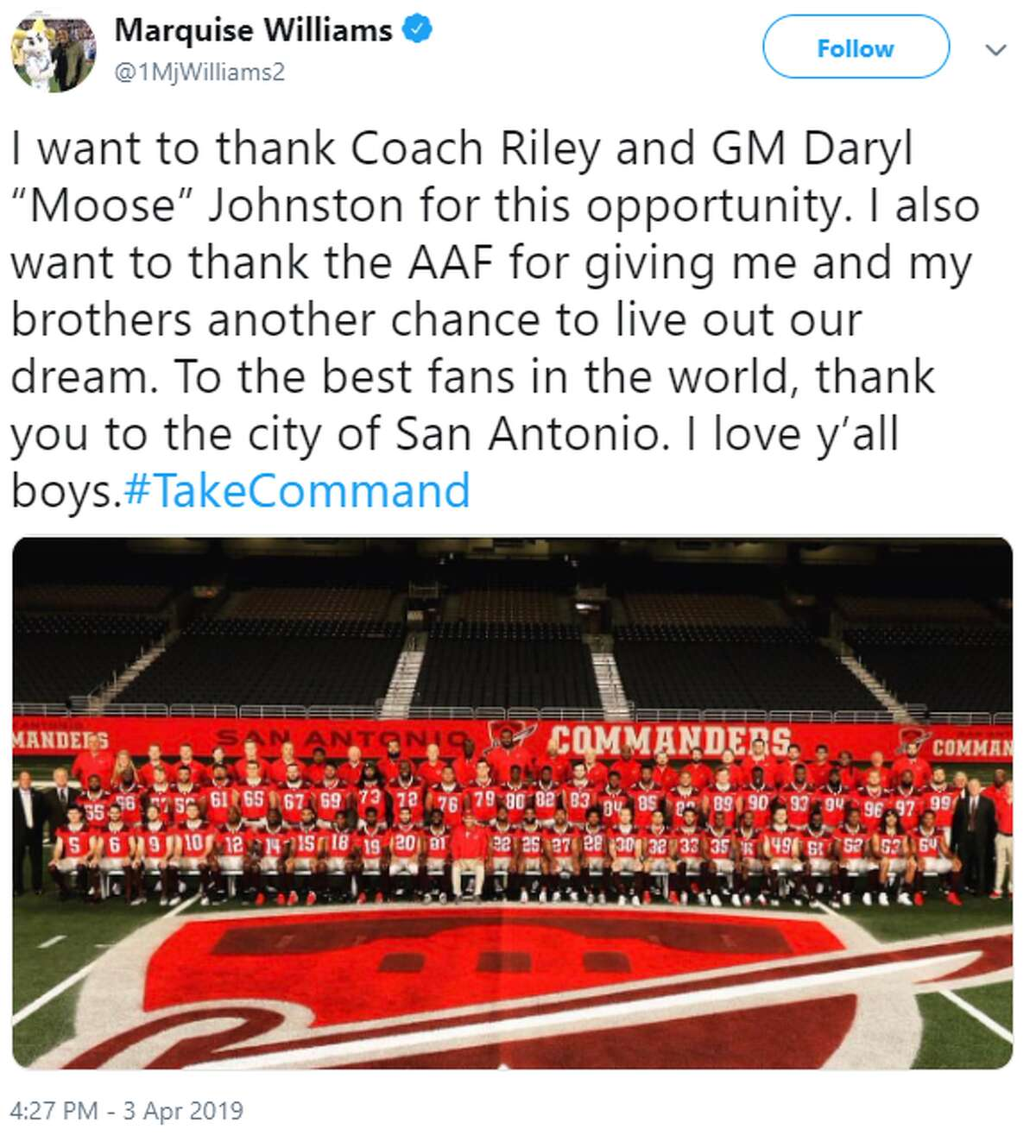 @1MjWilliams2: I want to thank Coach Riley and GM Daryl