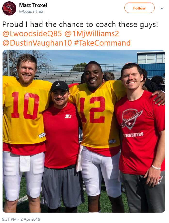 @Coach_Trox: Proud I had the chance to coach these guys! ⁦@LwoodsideQB5⁩ ⁦@1MjWilliams2⁩ ⁦⁦@DustinVaughan10⁩ #TakeCommand