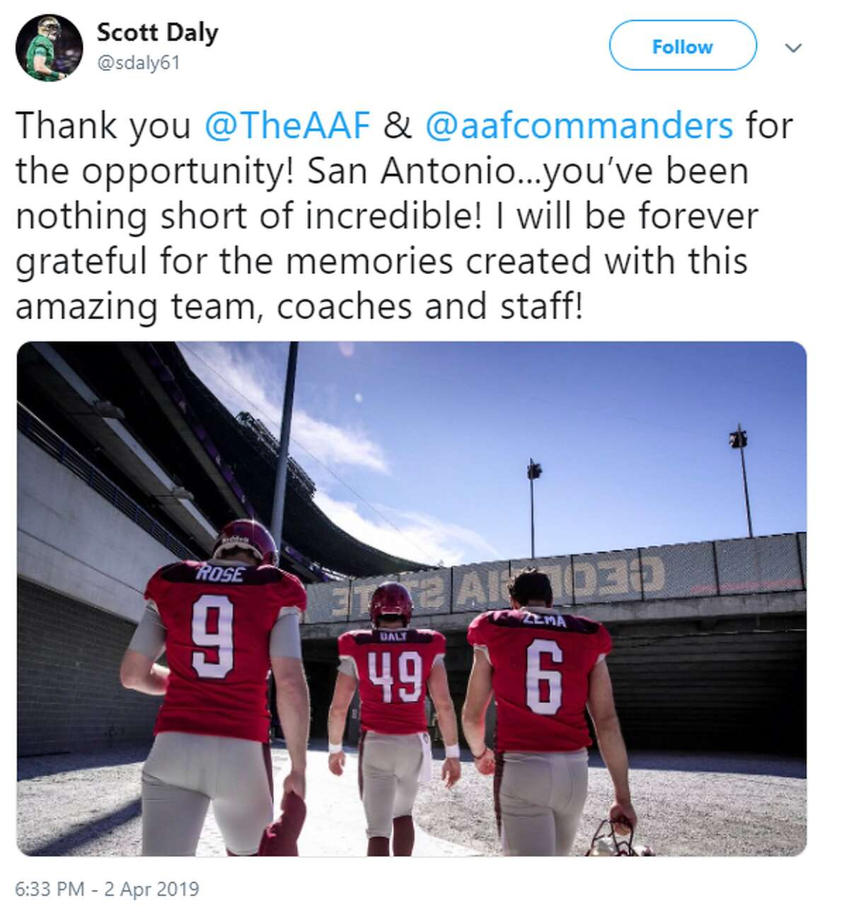 @sdaly61: Thank you @TheAAF & @aafcommanders for the opportunity! San Antonio...you've been nothing short of incredible! I will be forever grateful for the memories created with this amazing team, coaches and staff!