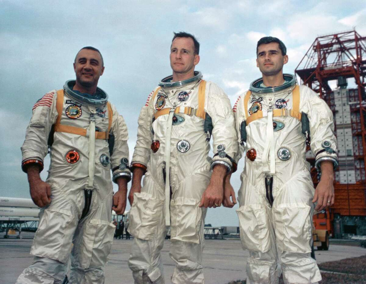 The inaugural Apollo mission, Apollo 1, ended in tragedy, when a fire erupted on the launch pad during a pre-launch test, killing all three astronauts in 1967. The deaths of astronauts Gus Grissom (from left), Ed White and Roger Chaffee shook NASA and challenged the agency to question its management system. This information has been previously reported by the Houston Chronicle:Apollo 1: Death of 3 astronauts in fire on launch pad forces NASA to reassess