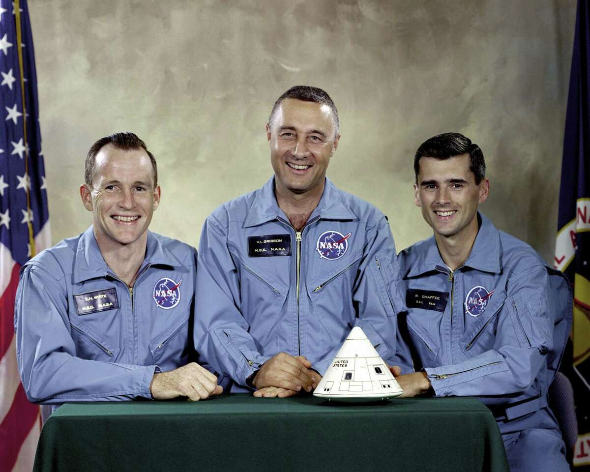 """This undated photo made available by NASA shows the Apollo 1 crew, from left, Edward H. White II, Virgil I. """"Gus"""" Grissom, and Roger B. Chaffee. On Jan. 27, 1967, a flash fire erupted inside their capsule during a countdown rehearsal, with the astronauts atop the rocket at Cape Canaveral's Launch Complex 34. All three were killed. (NASA via AP)"""