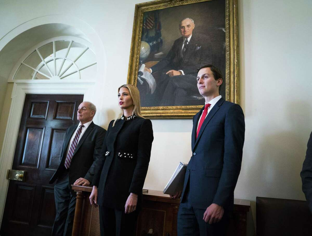 White House Chief of Staff John Kelly, from left, Ivanka Trump and White House senior adviser Jared Kushner attend a Cabinet meeting in 2018. President Trump ordered his chief of staff to grant Kushner a top-secret security clearance last year, overruling concerns flagged by intelligence officials.
