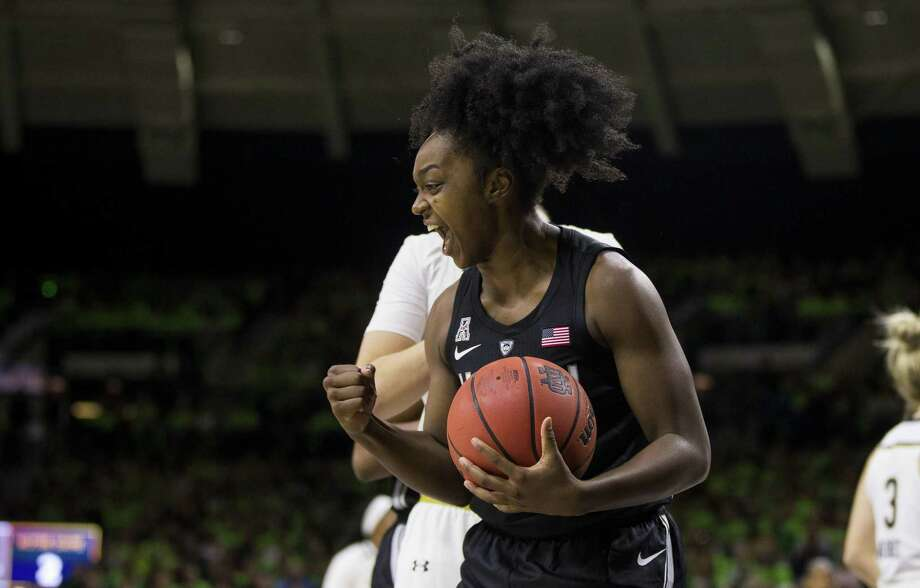 UConn's Christyn Williams (13) celebrates a Dec. 2 game at Notre Dame in South Bend, Ind. Connecticut won 89-71. Photo: Robert Franklin / Associated Press / FR17139 AP