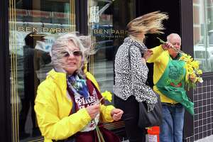 Volunteers Allen and Trudy Johnson brave the strong winds at the corner of Pike Street and 2nd Avenue as they hand out daffodils to passersby near Pike Place Market, Wednesday, April 3, 2019. The annual Daffodil Day usually happens on the first day of spring but this year took place a few days later to give the flowers a few more days to bloom.   (Genna Martin, Seattlepi.com)