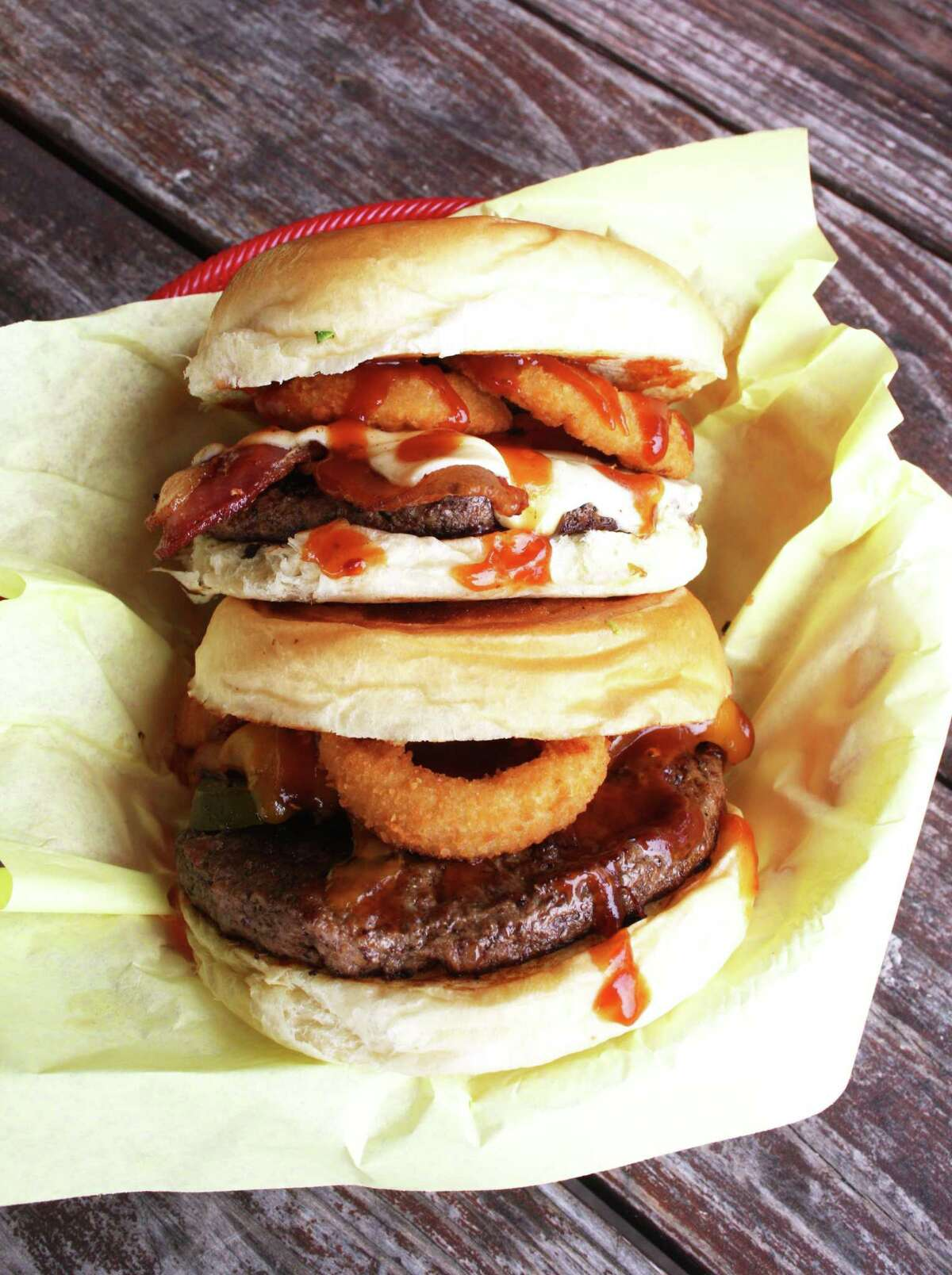 The Tejas BBQ Burger (top) and the Hickory Burger at Chunky's Burgers & More