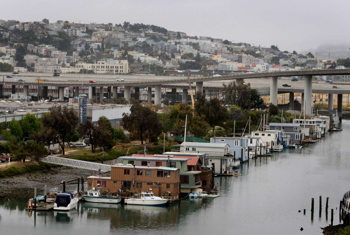 A floatilla of houseboats still remain after several decades on Mission Creek at the Mission Bay neighborhood in San Francisco, Calif., on Thursday, July 23, 2009.