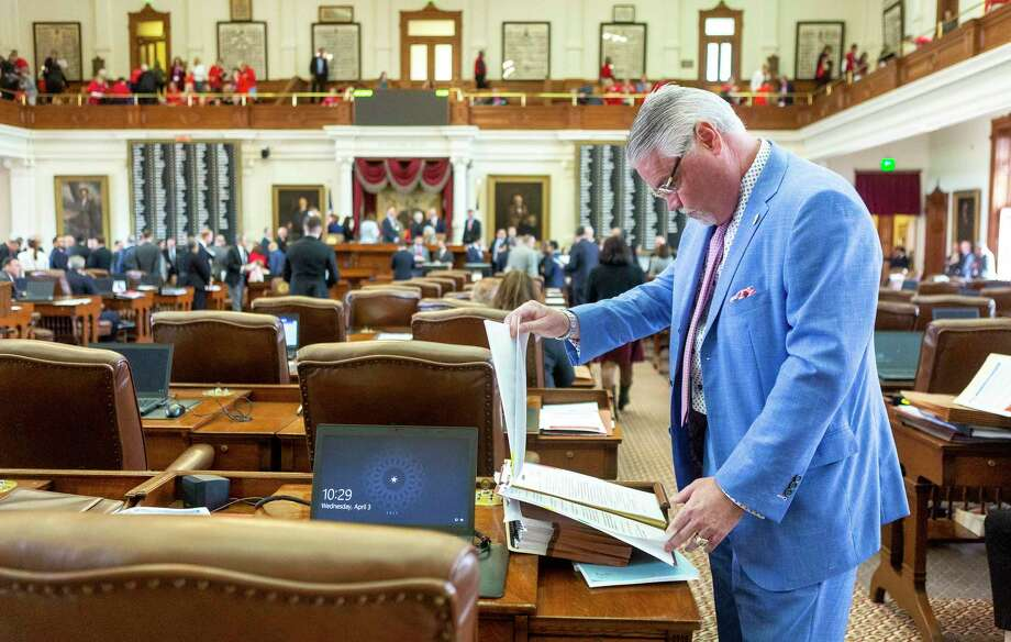 State Rep. Dan Huberty, R-Houston, prepares to speak on House Bill 3 at his desk in the House Chamber at the Texas Capitol in Austin, Wednesday, April 3, 2019.(Stephen Spillman / for Express-News) Photo: Stephen Spillman / For Express-N / Stephen Spillman / For Express-N / stephenspillman@me.com